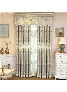 Light Green Chenille Materials Embroidered Flowers Living Room and Bedroom Curtain