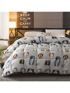 Super Cute Cartoon Pet Dogs Pattern Warm Winter Thick Quilt