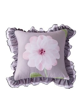 Flowers Pattern with Lace Edge Square Cotton Decorative Throw Pillows
