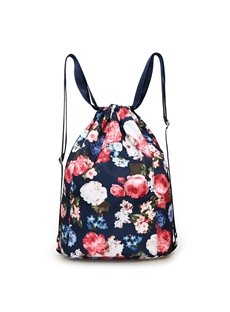 Drawstring Bag Waterproof Floral Pattern Portable Backpack