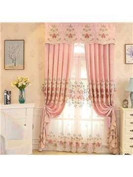 Romantic and Sweet Pink with Graceful Damask Pattern Living Room and Bedroom Sheer Curtain