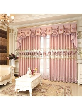 Romantic and Elegant Pink Color with Embroidered Flowers Living Room Curtain