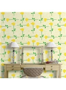 3D Yellow Background with Flowers and Leaves Printed Sturdy Waterproof Eco-friendly Wall Mural