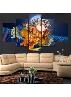 Christmas Father and Deer Pattern Hanging 5-Piece Canvas Eco-friendly and Waterproof Non-framed Prints