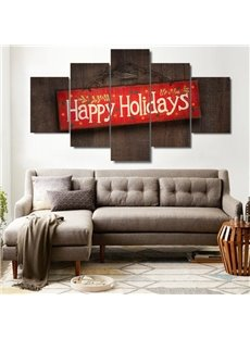 Happy Holiday Pattern Hanging 5-Piece Canvas Eco-friendly and Waterproof Non-framed Prints