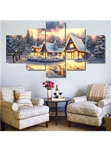 Golden Cabins and Snowy Trees Hanging 5-Piece Canvas Eco-friendly and Waterproof Non-framed Prints