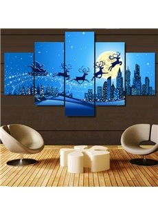 Christmas Deer in Blue Moonsky Hanging 5-Piece Canvas Eco-friendly and Waterproof Non-framed Prints