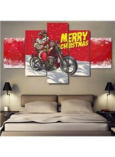 Red Christmas Father Merry Christmas Hanging 5-Piece Canvas Eco-friendly and Waterproof Non-framed Prints