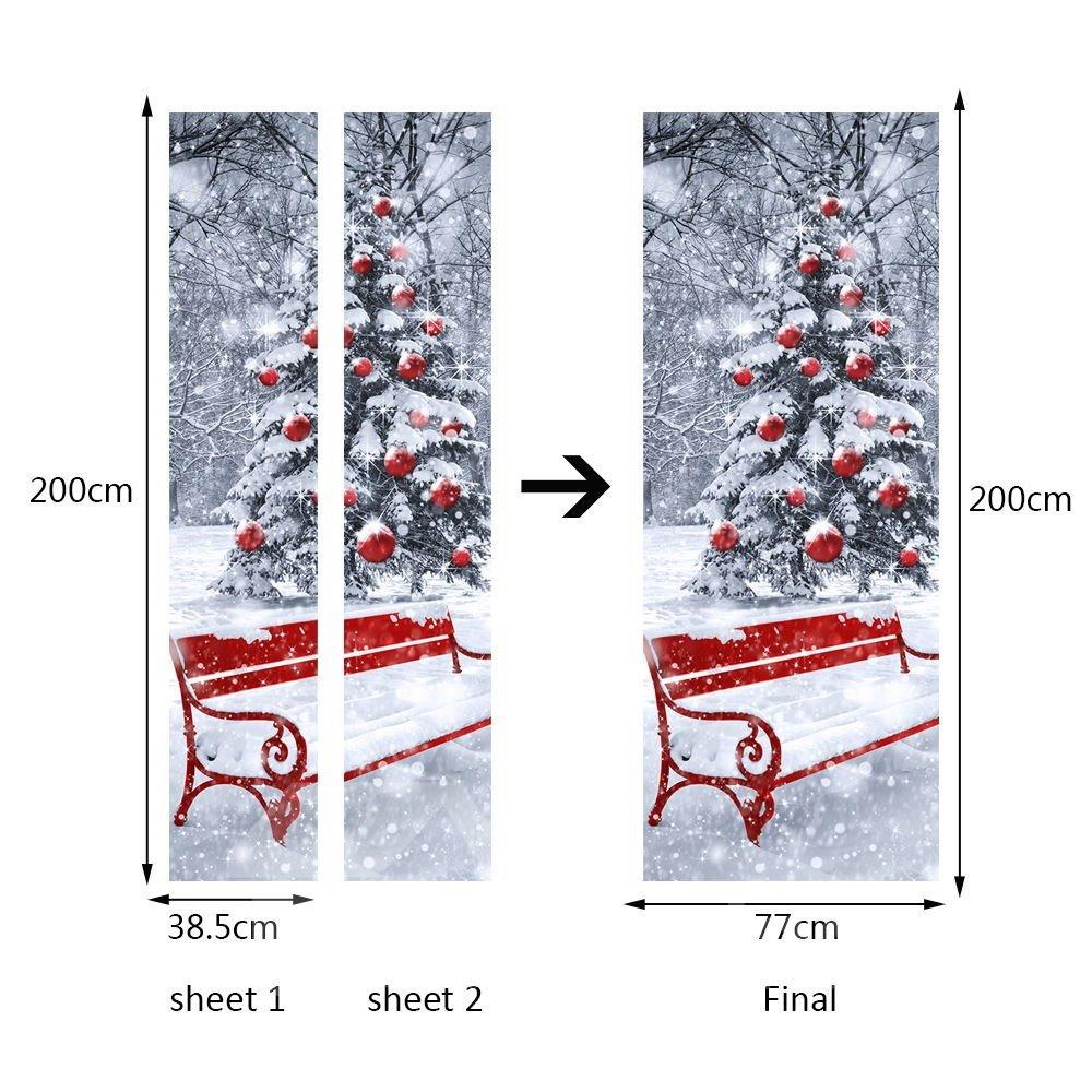 30×79in 3D Snowy Christmas Tree Printed PVC Environmental and Waterproof Door Mural