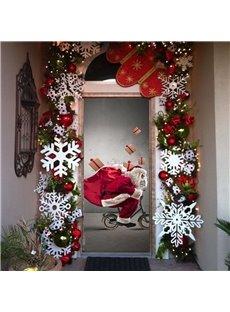 30×79in 3D Christmas Father and Presents in Bike PVC Environmental Waterproof Door Mural