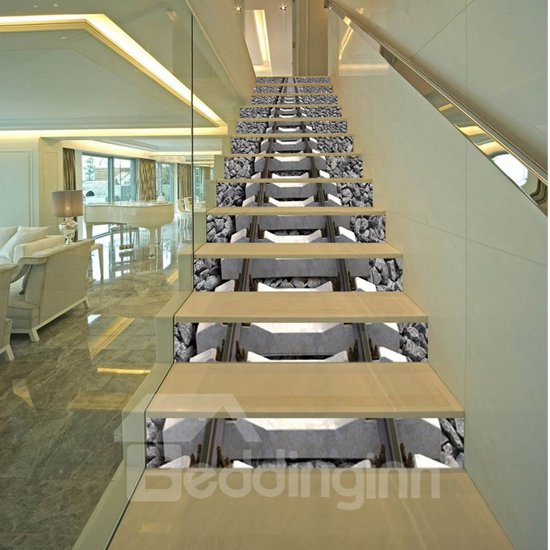 3D Grey Stone Train Track Printed 13-Piece PVC Waterproof Eco-friendly Stair Murals