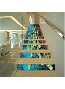 3D Fishes in Deep Sea 13-Piece Printed PVC Sturdy Waterproof Eco-friendly Stair Murals
