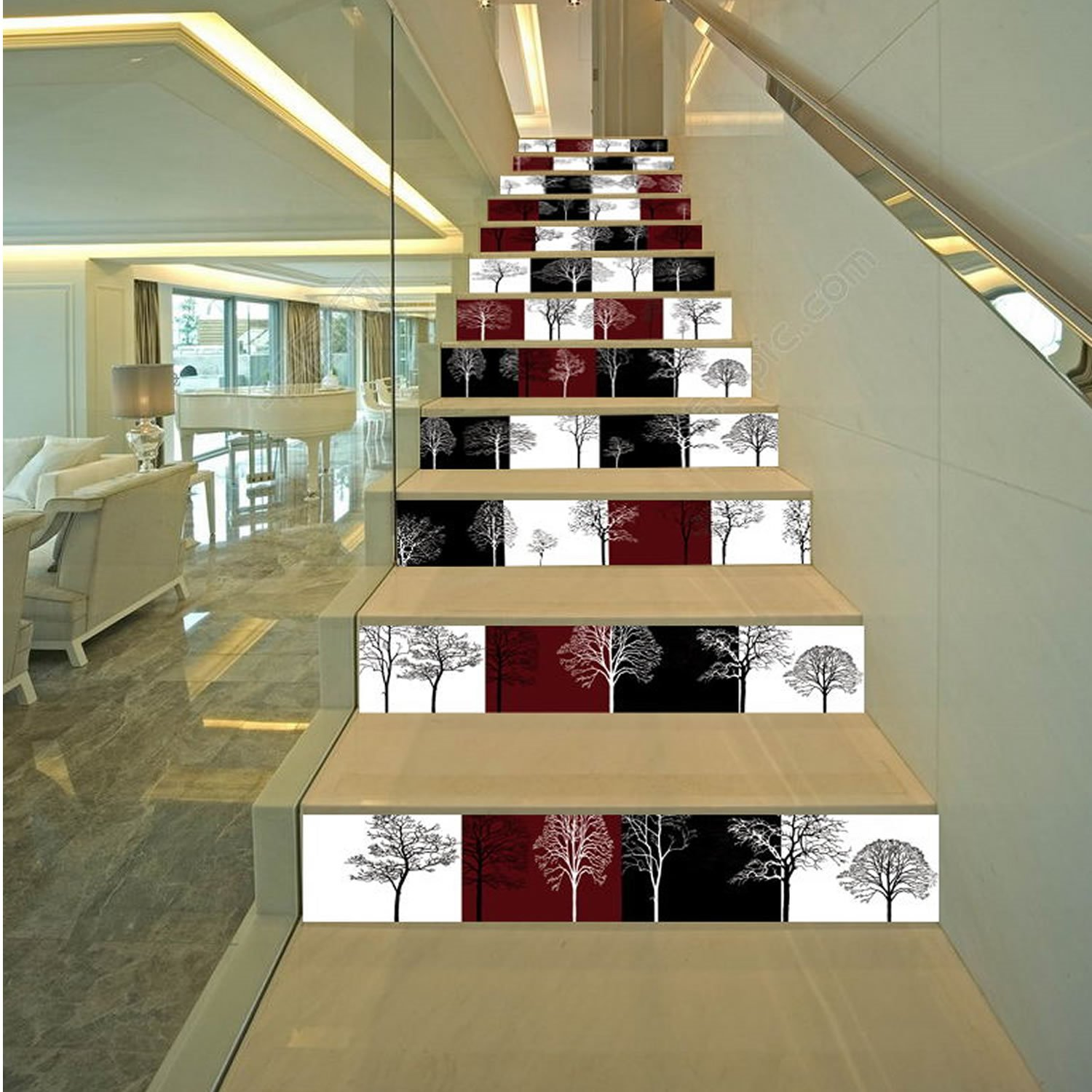 3D Black White Red Plaids Trees 13-Piece Printed PVC Waterproof Eco-friendly Stair Murals