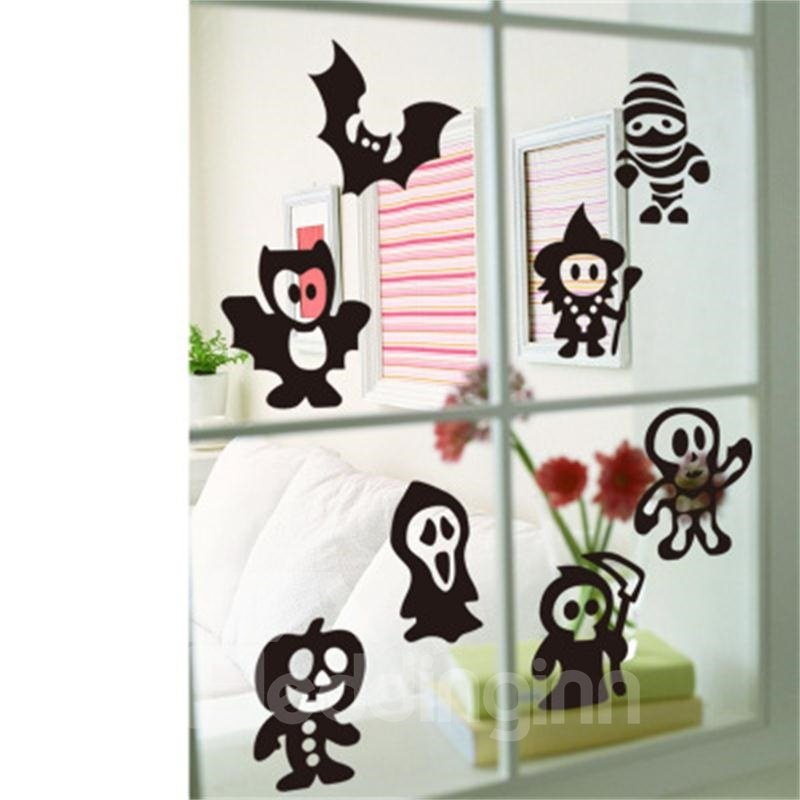 Black Halloween Ghosts Printed PVC Water-resistant Eco-friendly Removable Self-adhesive Wall Stickers