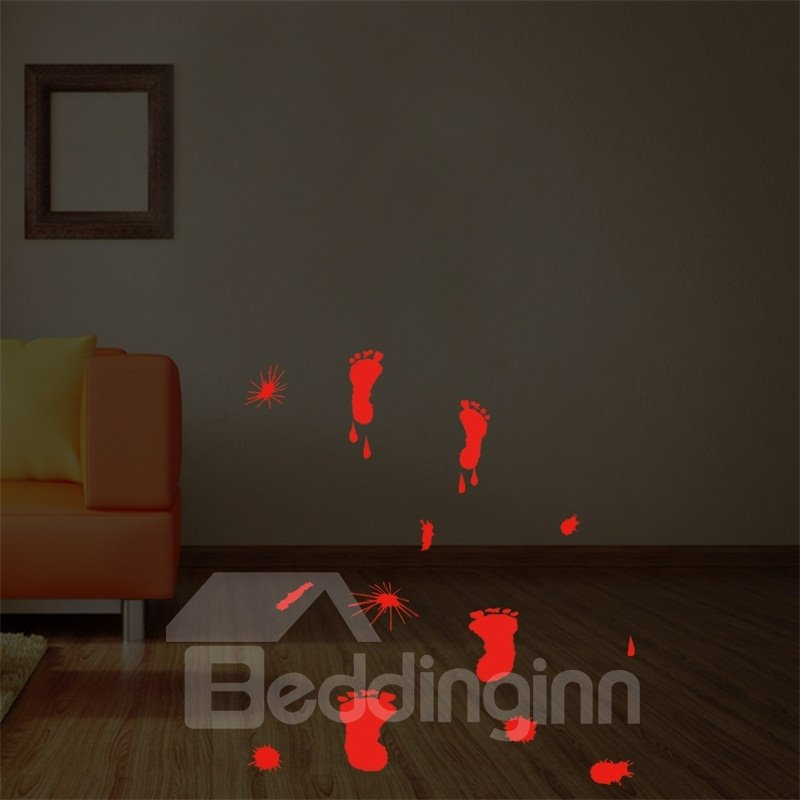Halloween Bloody Footprints PVC Water-resistant Eco-friendly Removable Self-adhesive Wall Stickers