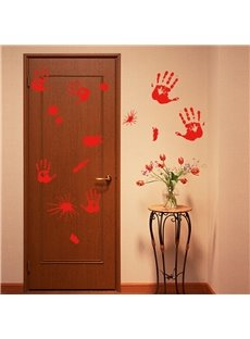 Halloween Red Handprints Printed PVC Water-resistant Eco-friendly Removable Self-adhesive Wall Stickers