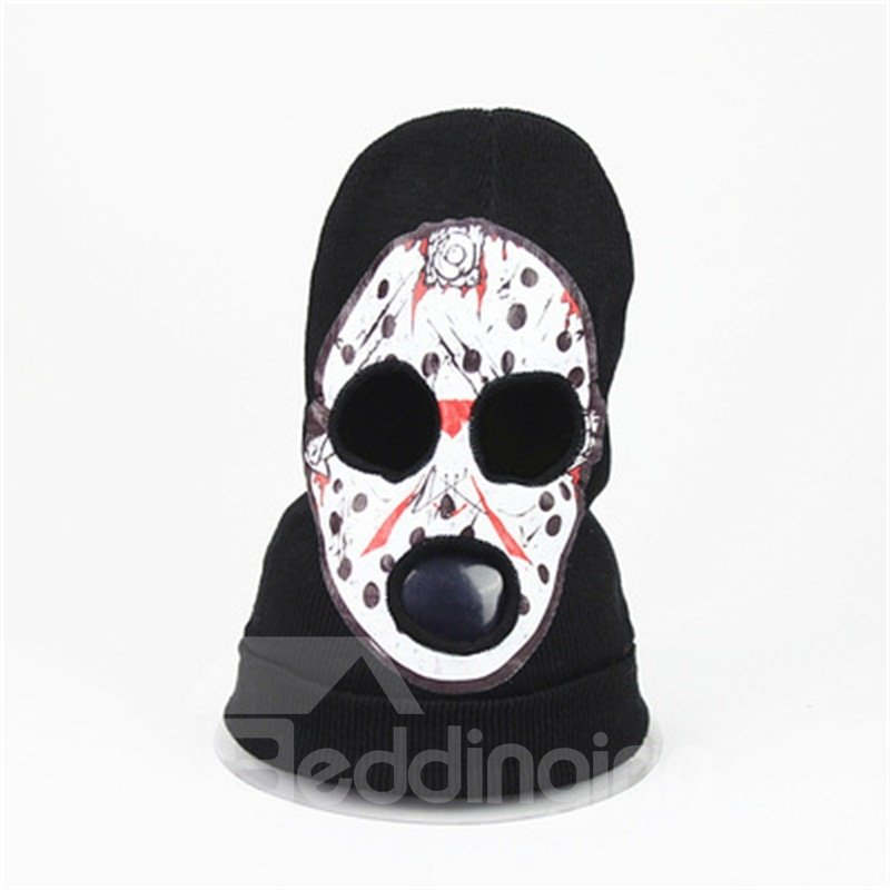 Halloween Skull Cosplay Horror Mask Knit Hat