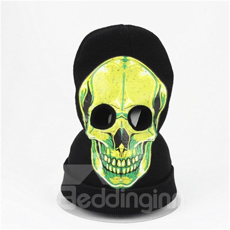 Halloween Skull Cosplay Horror Mask Knit Hat Green