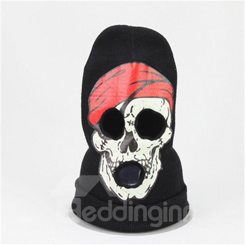 Halloween Skull Cosplay Horror Mask Knit Hat Red