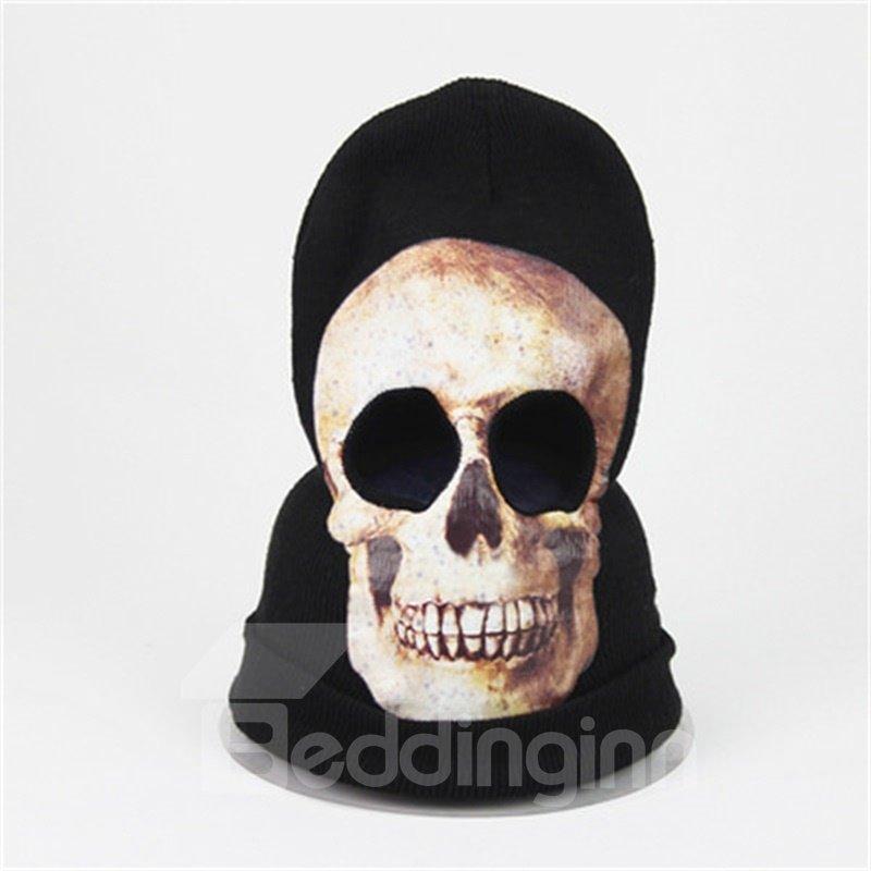 Halloween Skull Cosplay Horror Mask Knit Hat White