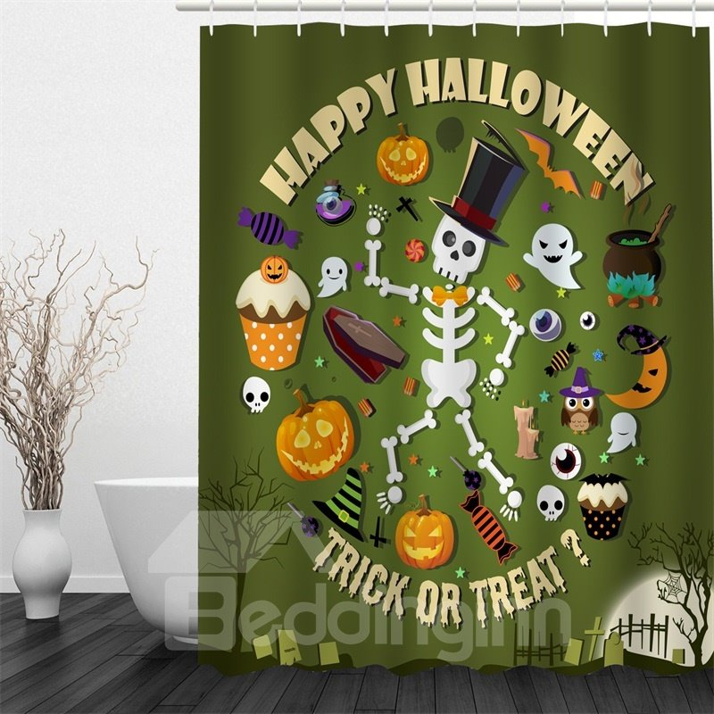 3D Halloween Cartoon Characters Polyester Waterproof Antibacterial and Eco-friendly Shower Curtain