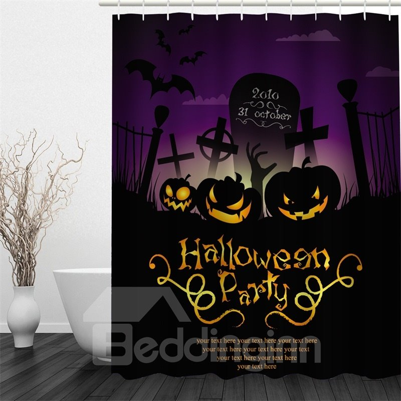 3D Halloween Party Hurray Polyester Waterproof Antibacterial and Eco-friendly Shower Curtain