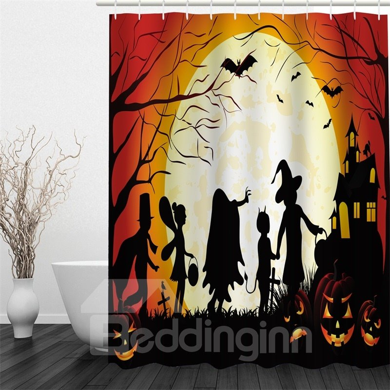 3D Halloween Night Polyester Waterproof Antibacterial and Eco-friendly Shower Curtain
