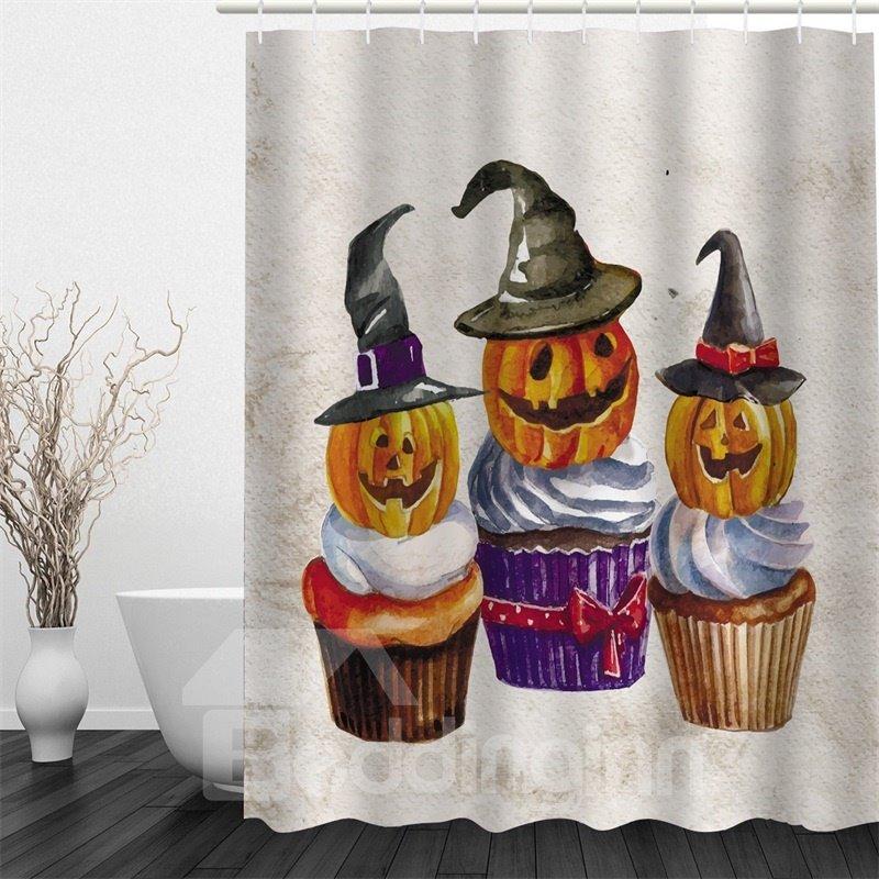 3D Halloween Pumpkins Polyester Waterproof Antibacterial and Eco-friendly Shower Curtain