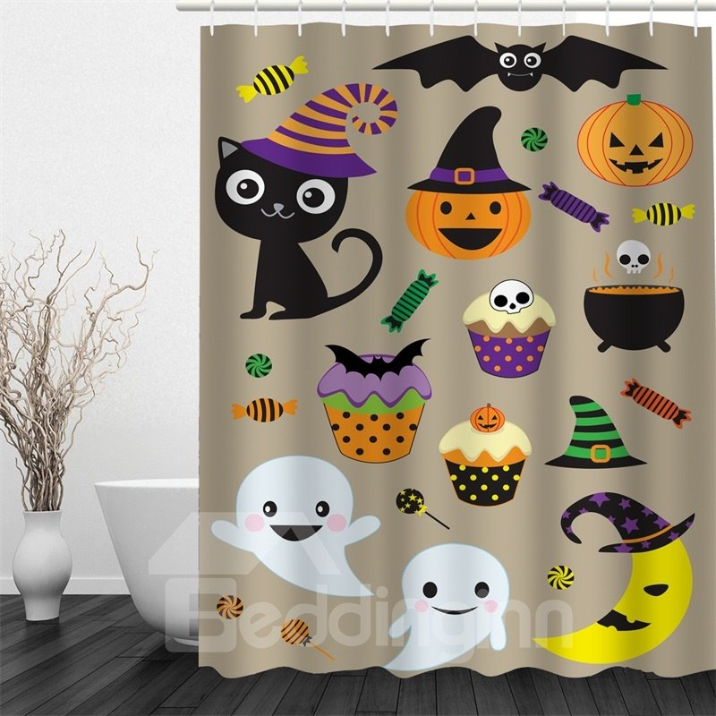 3D Halloween Cartoon Patterns Polyester Waterproof Antibacterial and Eco-friendly Shower Curtain