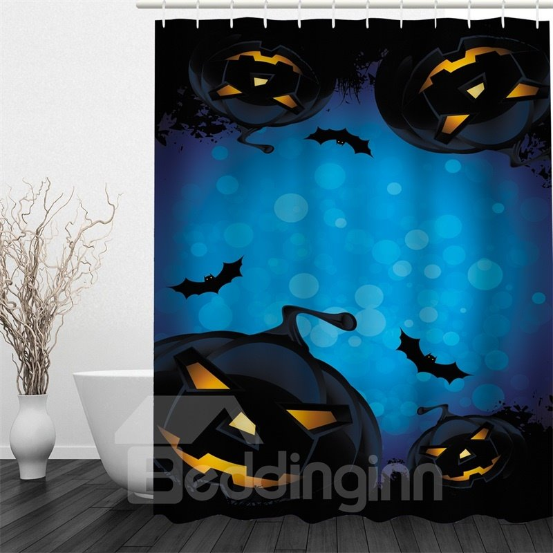 3D Halloween Jack-o-Lanterns Bats Polyester Waterproof Antibacterial and Eco-friendly Blue Shower Curtain