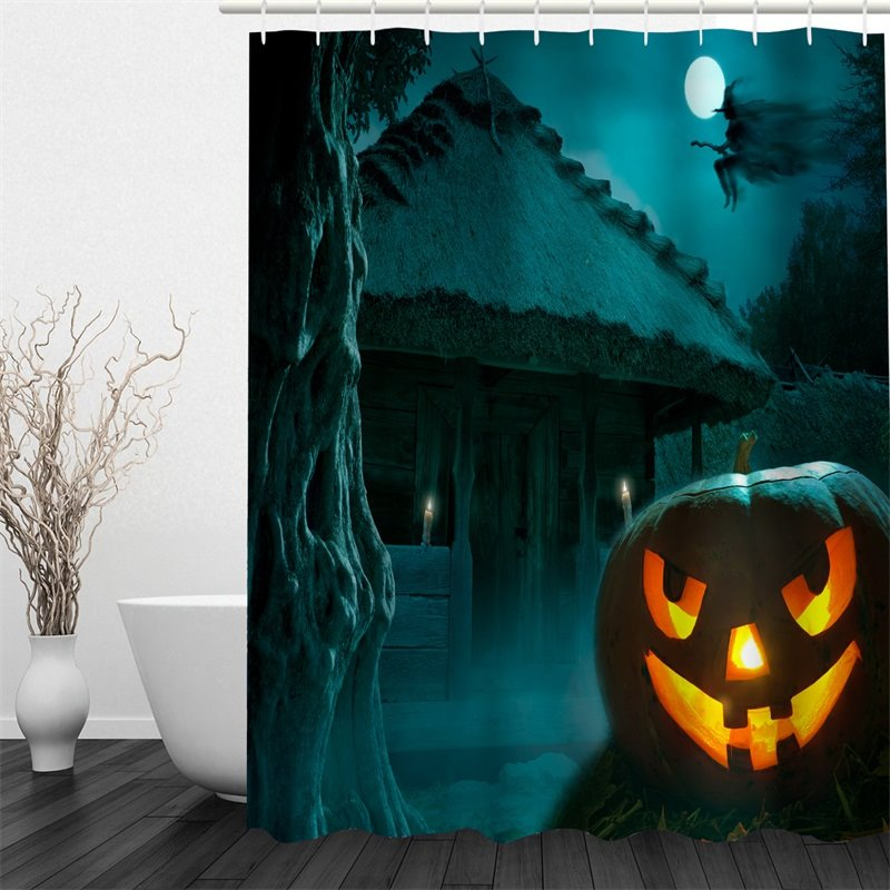 3D Halloween Jack-o-Lantern Cabin Polyester Waterproof Antibacterial and Eco-friendly Shower Curtain