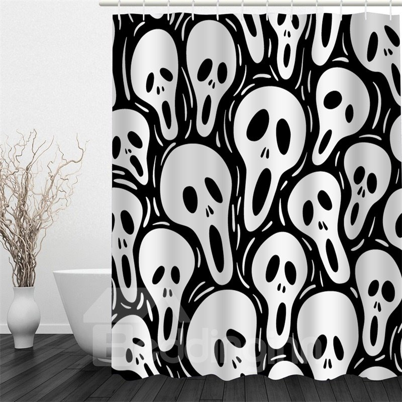 3D White Skulls Printed Polyester Waterproof Antibacterial and Eco-friendly Shower Curtain