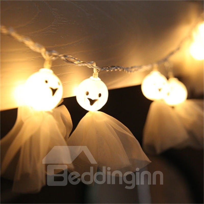 White Women Ghost with Sheer Halloween Room and Door Decoration LED Strings