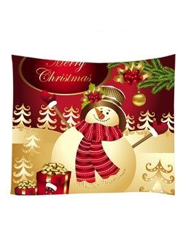 Cute Snowman and Christmas Ornaments Decorative Hanging Wall Tapestry
