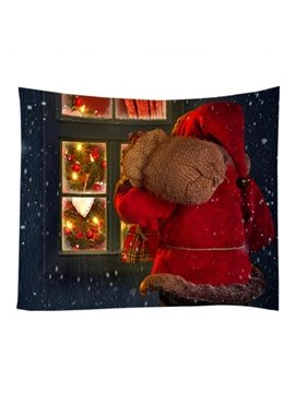 Santa Claus Delivering Christmas Gifts Pattern Decorative Hanging Wall Tapestry