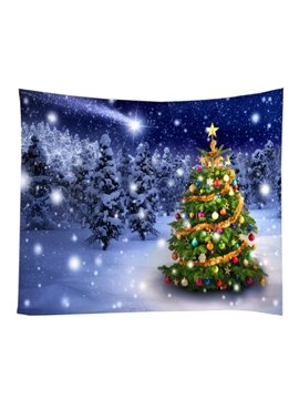Christmas Tree with Colorful Balls Ornamented Decorative Hanging Wall Tapestry