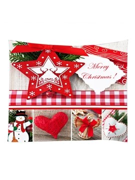 Red Christmas Ornaments Pattern Decorative Hanging Wall Tapestry