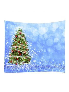 Christmas Trees with Ornaments Blue Decorative Hanging Wall Tapestry