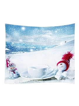 Outdoor Snowmen and Drinking Leisure Time Pattern Decorative Hanging Wall Tapestry
