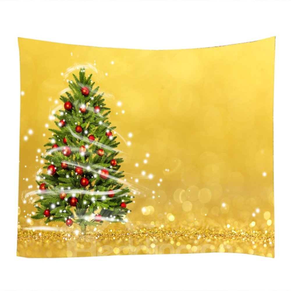 Christmas Trees with Ornaments Yellow Decorative Hanging Wall ...