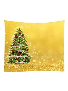 Christmas Trees with Ornaments Yellow Decorative Hanging Wall Tapestry