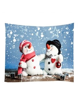 Couple Snowman Celebrating Christmas Pattern Decorative Hanging Wall Tapestry