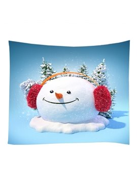 Cute Snowman with Earmuffs Pattern Decorative Hanging Wall Tapestry
