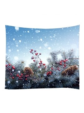 Snowy Weather and Christmas Ornaments Decorative Hanging Wall Tapestry
