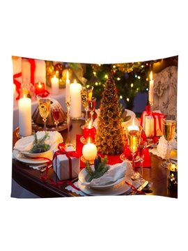 Christmas Reunion Dinner and Candlelight Decorative Hanging Wall Tapestry