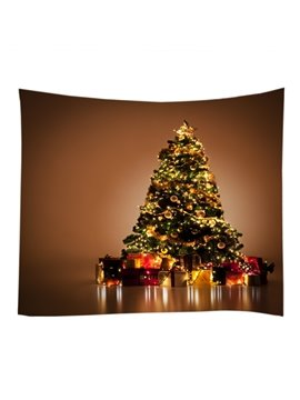 Christmas Trees with Ornaments and Gifts Decorative Hanging Wall Tapestry