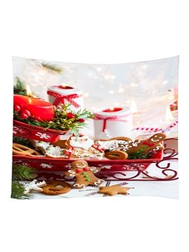 Christmas Festival Cookies and Candles Pattern Decorative Hanging Wall Tapestry