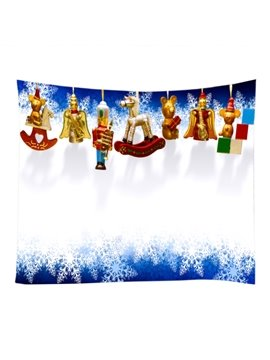 Christmas Snowy and Strings of Toys Decorative Hanging Wall Tapestry