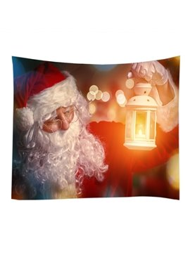 Santa Claus with Lantern Merry Christmas Decorative Hanging Wall Tapestry