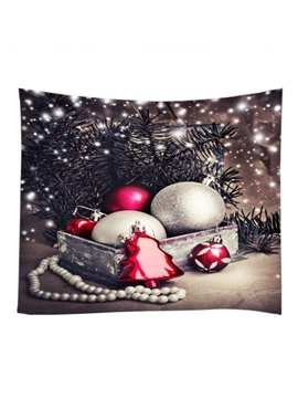 Merry Christmas Snowy Decoration Balls Pattern Hanging Wall Tapestry